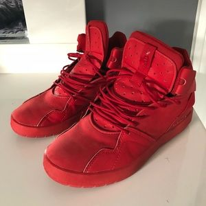 Adidas red high top shoes